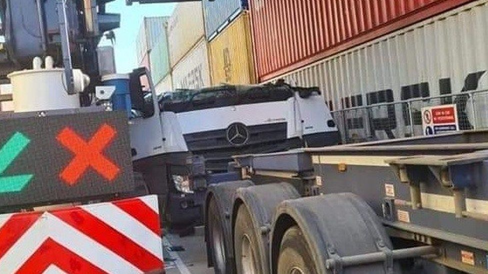 Crushed lorry