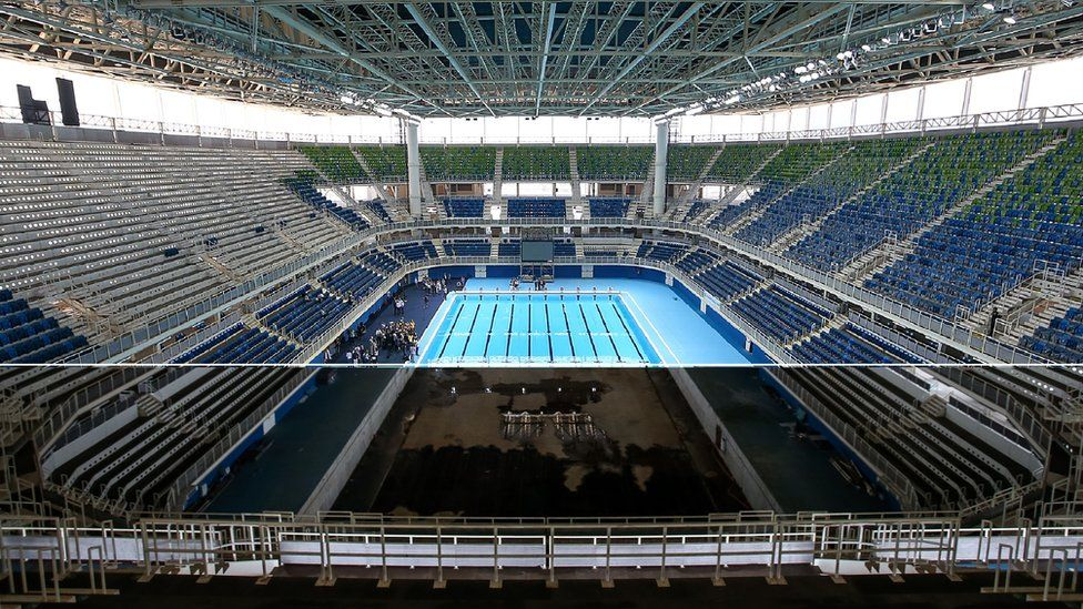 Composite image showing the Rio Aquatics stadium before and after the Olympics