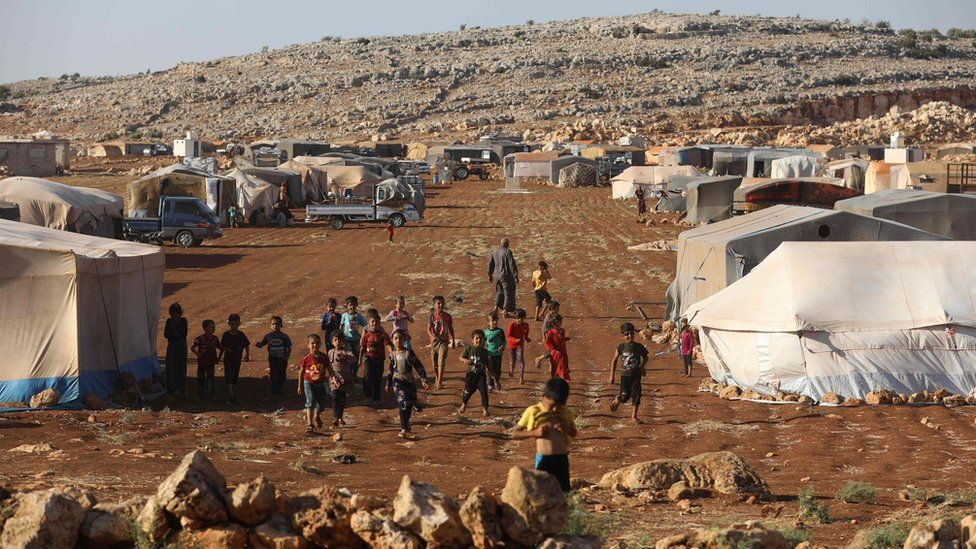 Camp for displaced people in Kafr Dariyan, near the Syrian border with Turkey