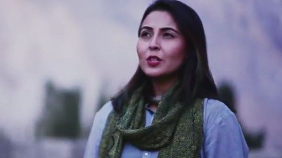 A screengrab from the Voice of Ram video showing Pakistani singer Natasha Baig