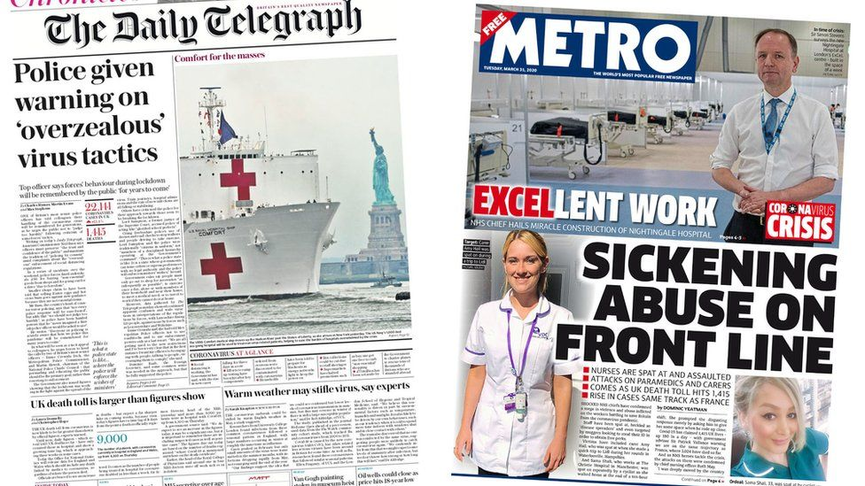 Daily Telegraph and Metro front pages