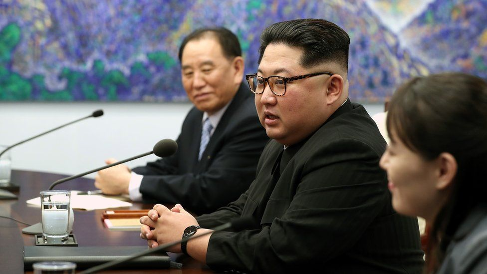 Kim Yong-chol sits next to Kim Jong-un at the Inter-Korean Summit in April 2018