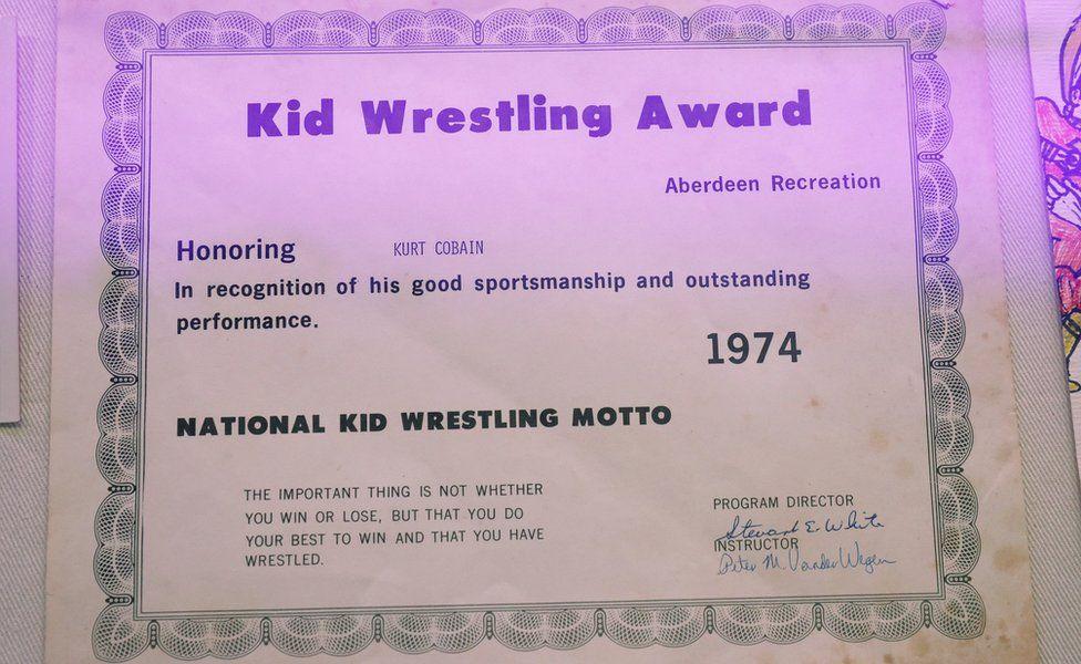 Kurt Cobain's wrestling certificate