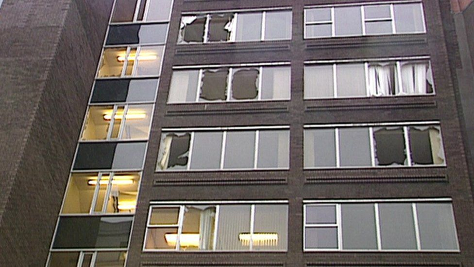 Damaged office buildings