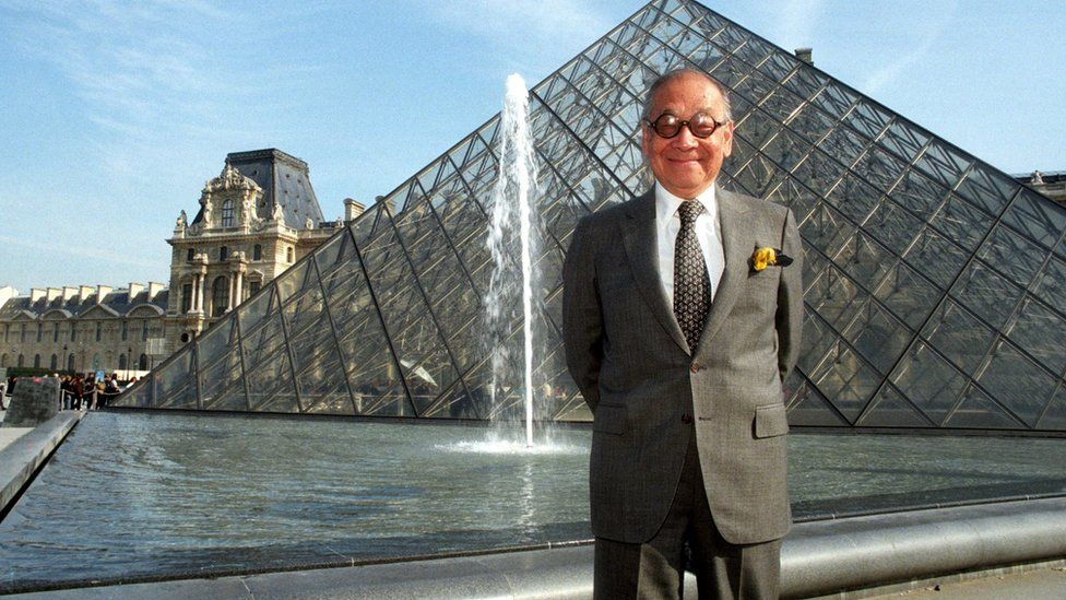 I M Pei on the 10th anniversary of The Pyramid of the Louvre, April 1999