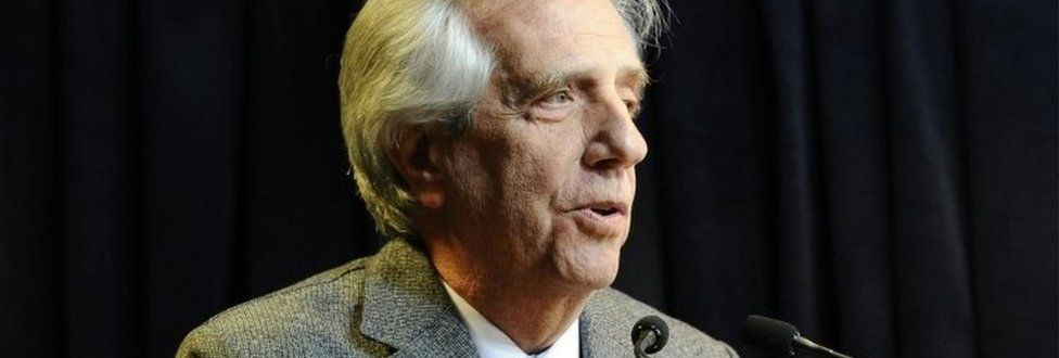 Uruguayan President Tabare Vazquez speaks during a news conference