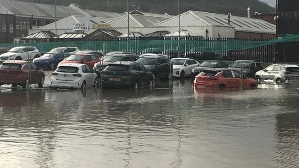 Flooded cars at Hutchings Motor Group in Pontypridd