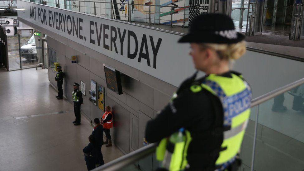 Police officers at Stratford Station