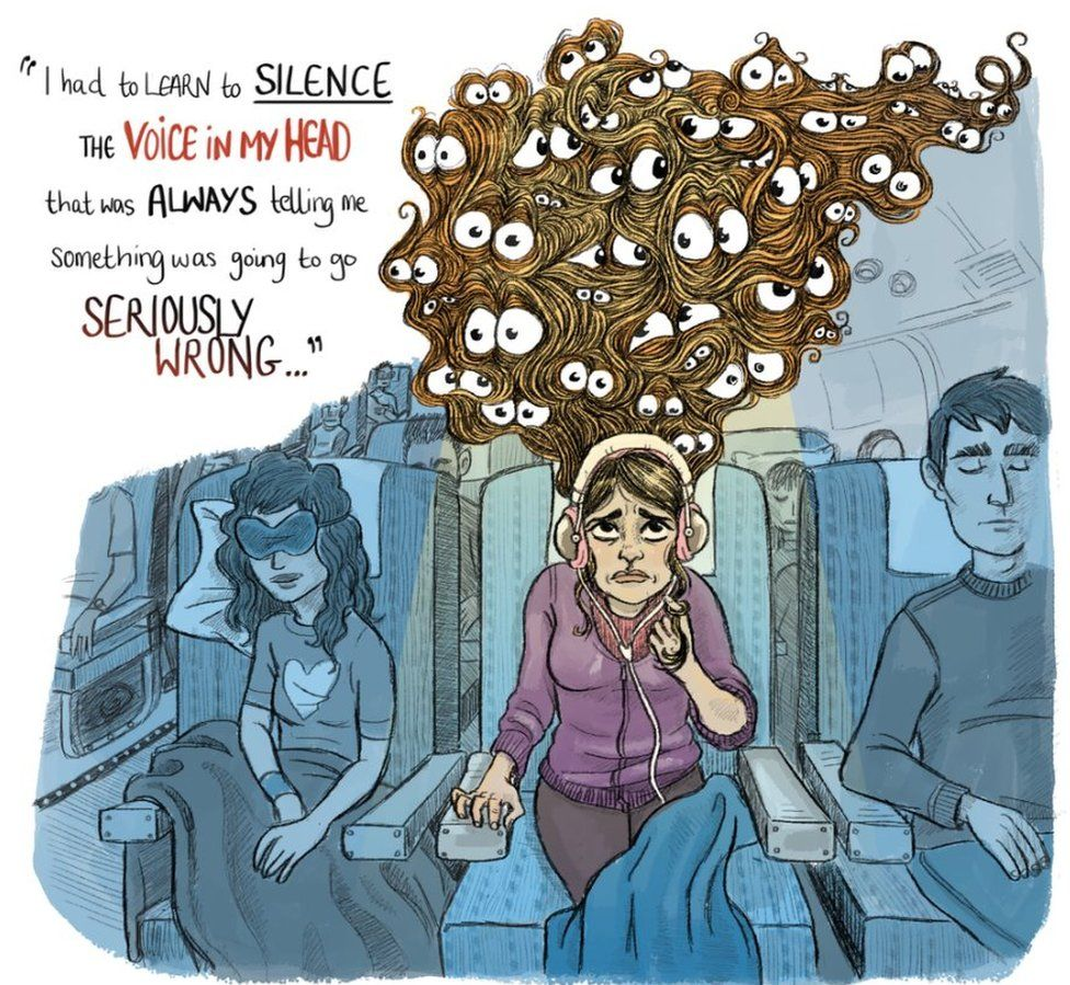 Woman travelling with anxiety with worried eyes in her hair