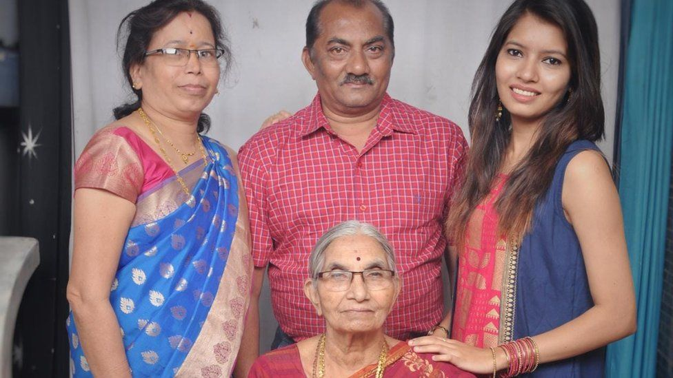 Chinmayi Hiwase (first from right) says her family is struggling to pay medical bills