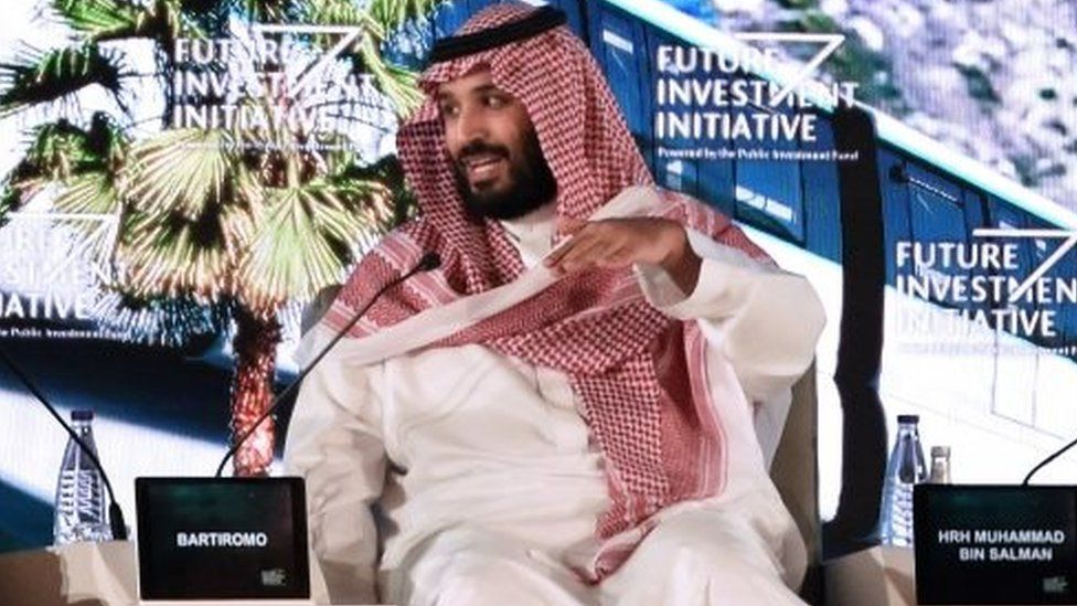 Crown Prince Mohammed bin Salman at an international business conference in Riyadh. Photo: 24 October 2017