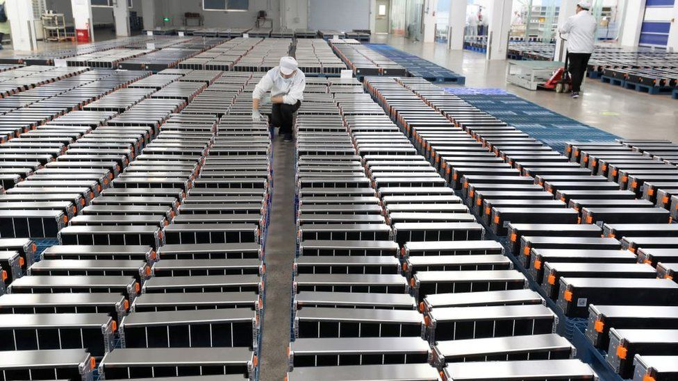 Xinwangda Electric Vehicle Battery Co.Ltd, que fabrica baterías de litio para automóviles eléctricos y otros usos, en Nanjing, en la provincia de Jiangsu, en el este de China