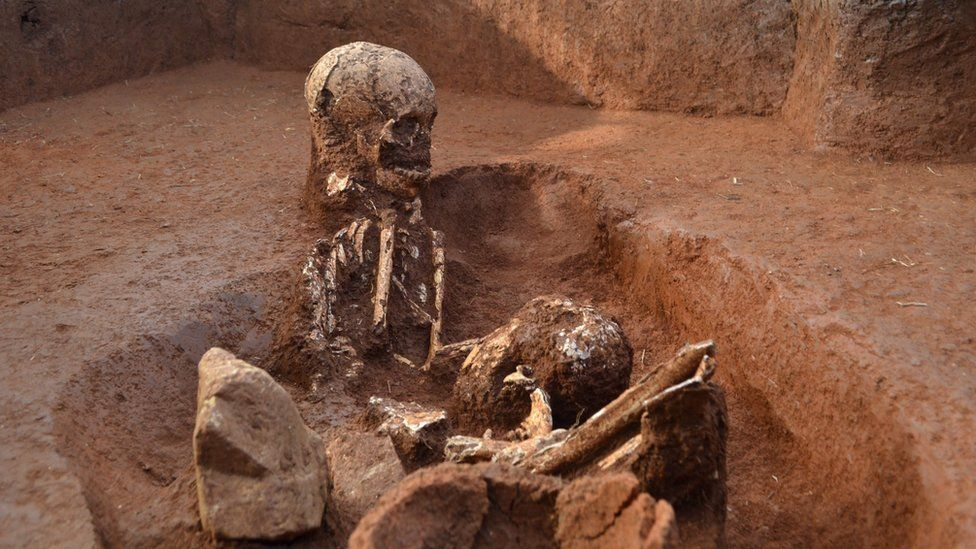 A photo from the Australian National University shows human remains at an ancient burial ground