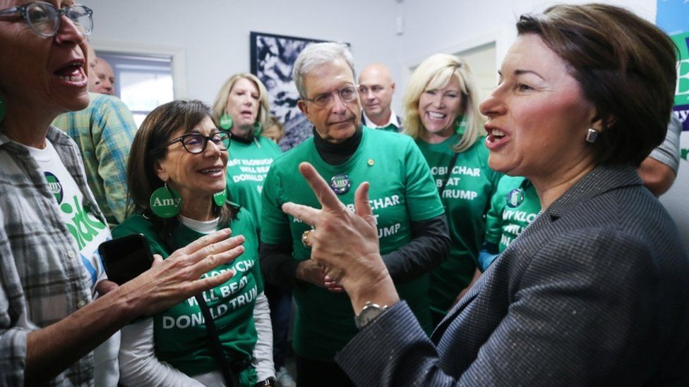 Democratic presidential candidate Amy Klobuchar greets supporters at a Nevada caucuses kickoff event on February 22, 2020 in Las Vegas, Nevada