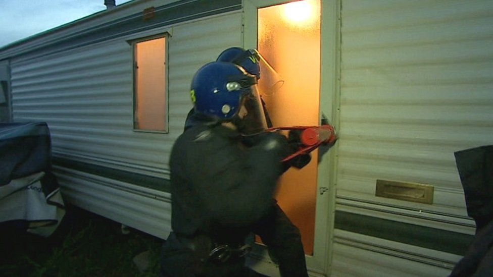 Police raid at a site in Cambridgeshire in September 2013