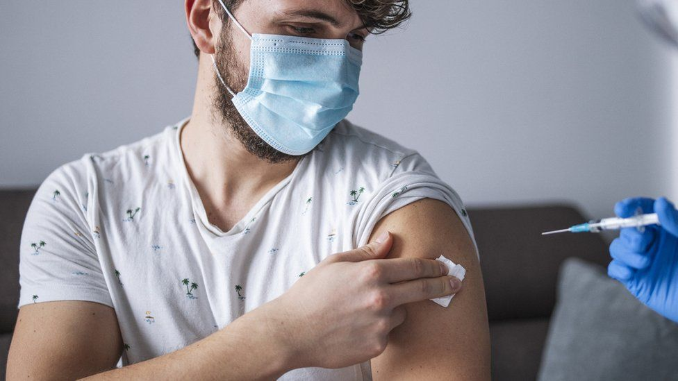 Man getting vaccine