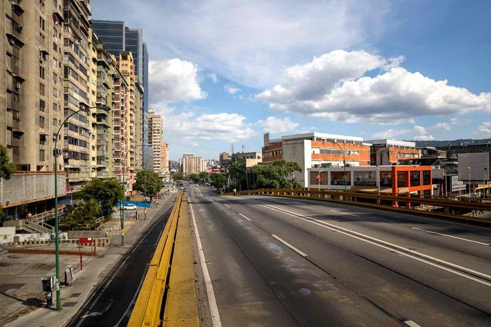 A practically empty Francisco de Miranda Avenue in Caracas, Venezuela.