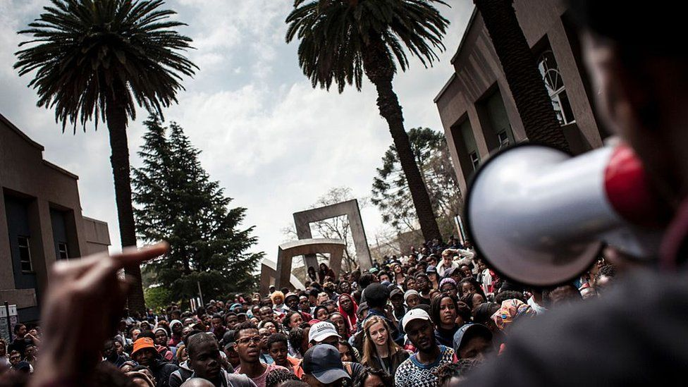 University of the Witwatersrand students demonstrate against fee increases.