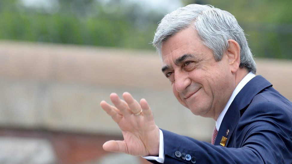 Armenia's President Serzh Sargsyan arrives for the second day of Nato Summit in Warsaw, Poland, 9 July 2016