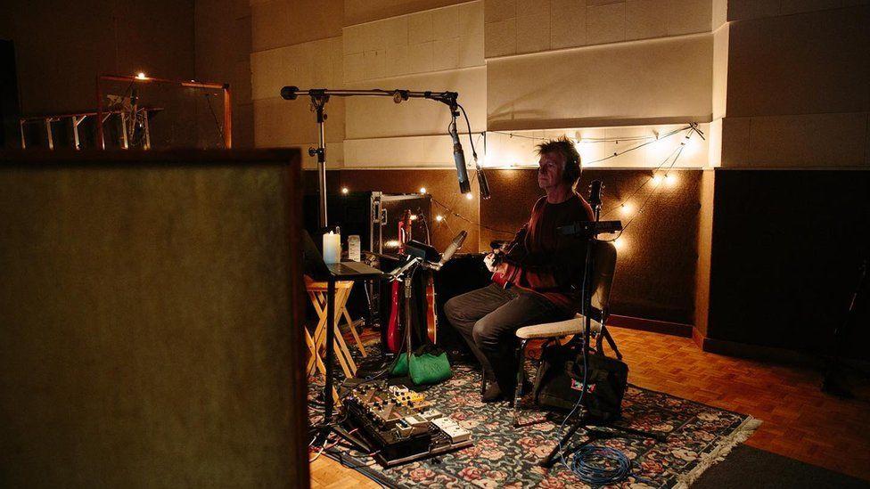 Neil Finn in the recording studio