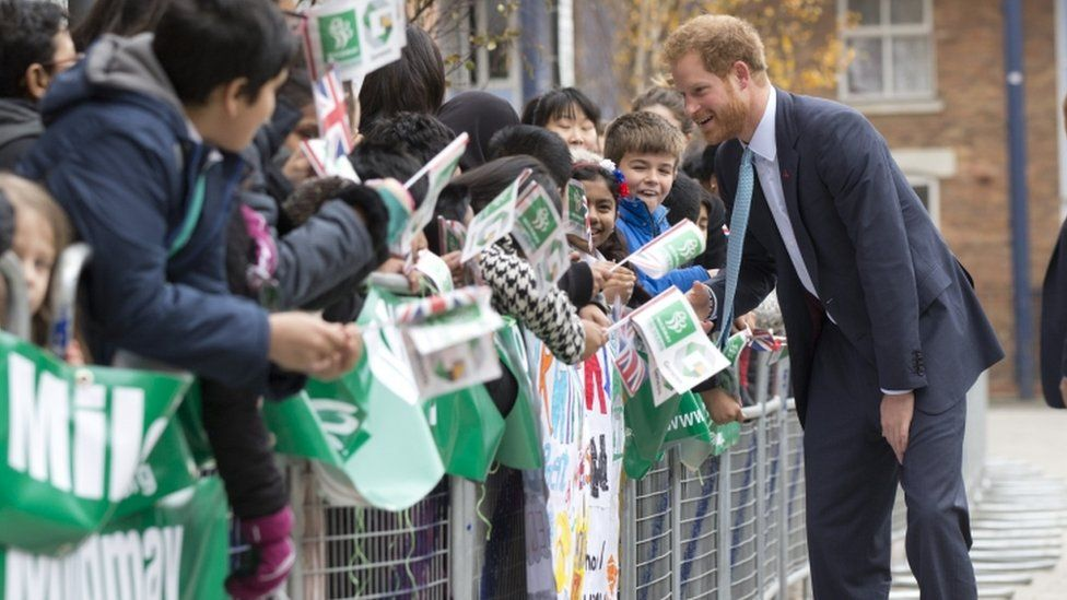Prince Harry with pupils from Virginia Primary School