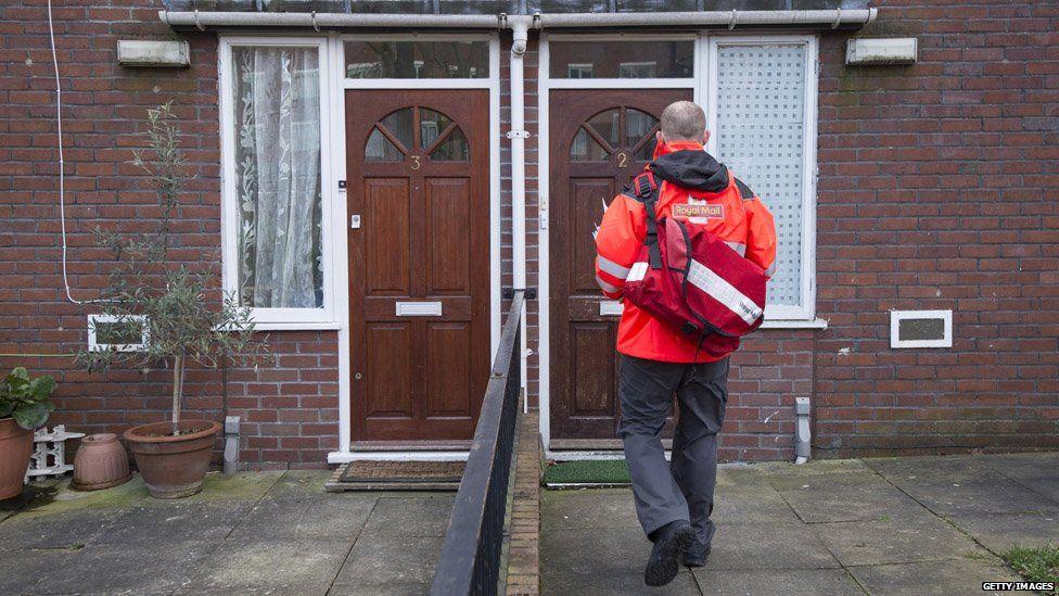 Postman approaches door