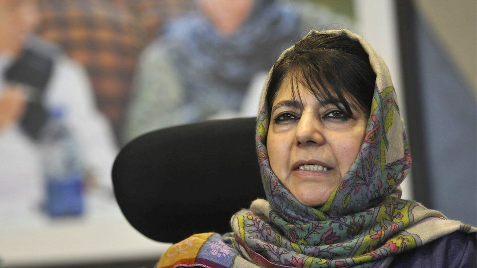 Former Jammu and Kashmir chief minister and PDP chief Mehbooba Mufti during a press conference at her residence, on February 11, 2019 in Srinagar, India.