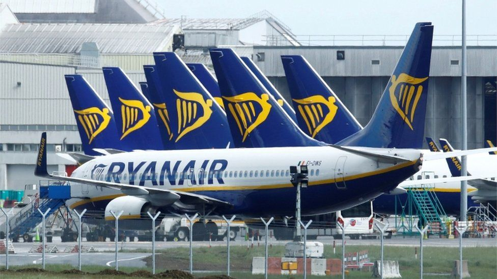 Ryanair planes parked at Dublin Airport