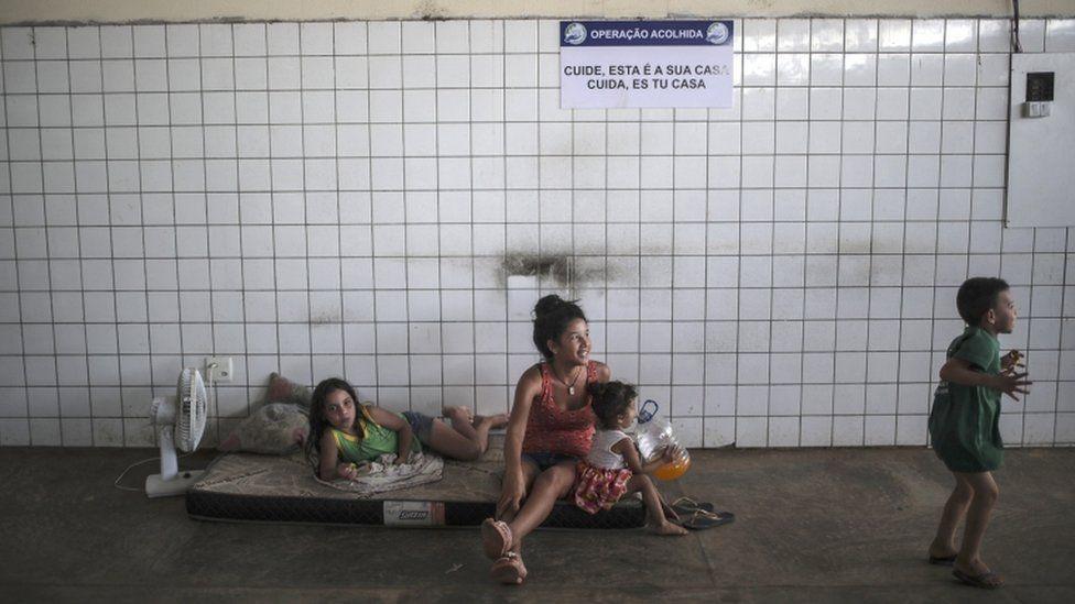 Venezuelan family in temporary accommodation in Boa Vista, Brazil, 26 June 2018