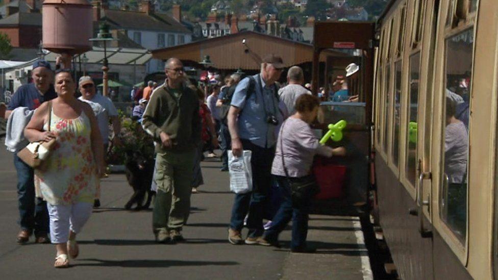 Passengers on West Somerset Railway