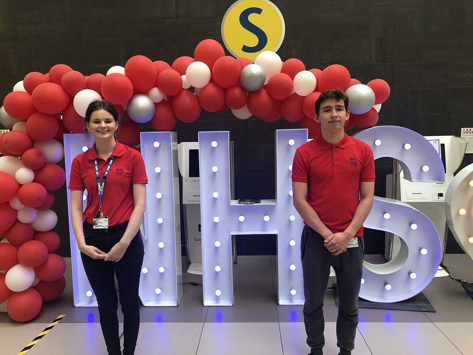 NHS volunteers Carly Horne and Ben Gebhardt