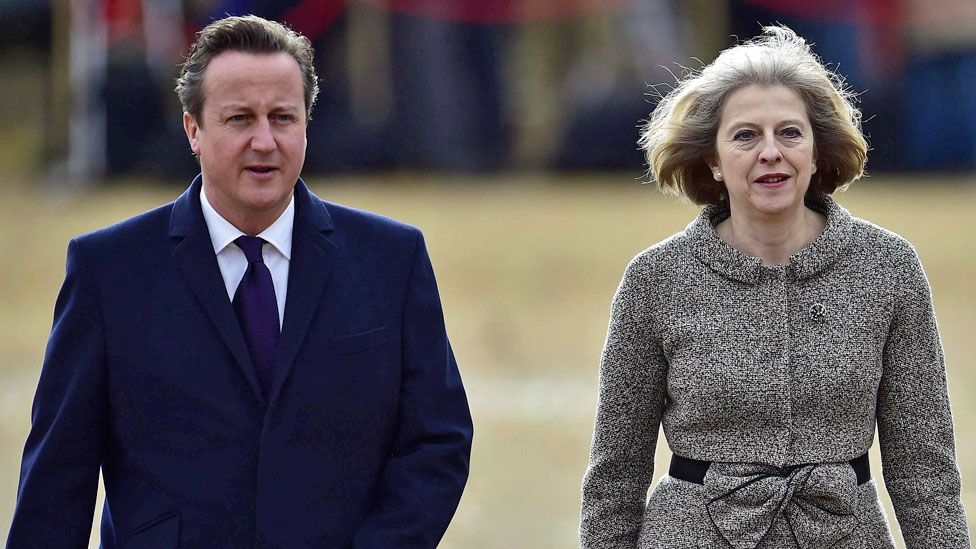 Prime Minister David Cameron and Home Secretary Theresa May arrive for a ceremonial welcome for the President of Singapore at Horse Guards Parade in London - 21 October 2014