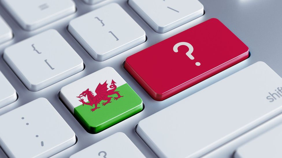 A welsh flag on a keyboard with a question mark