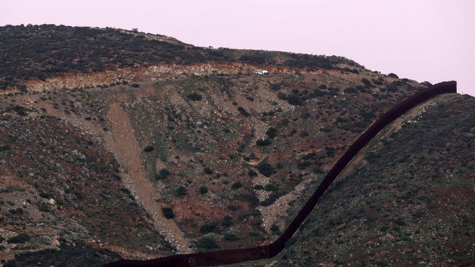 Border fencing as seen from the Mexican side of the US-Mexico border