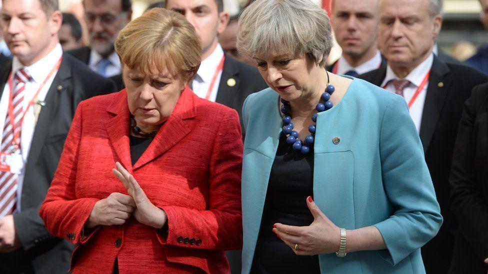German Chancellor Angela Merkel with British Prime Minister Theresa May