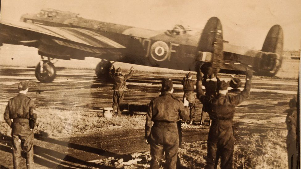 Picture believed to have been taken by George Osborne of a Lancaster bomber taking off