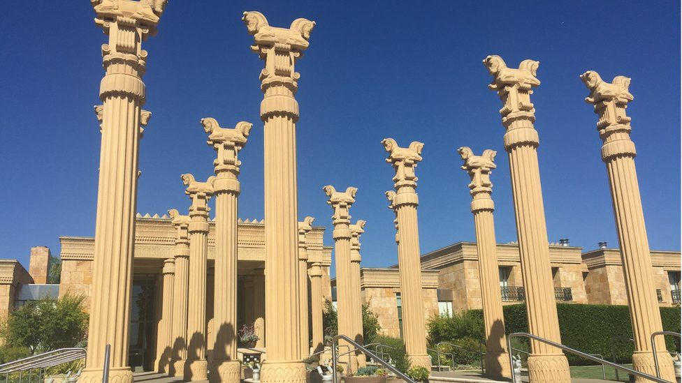 Carved columns at entrance to winery