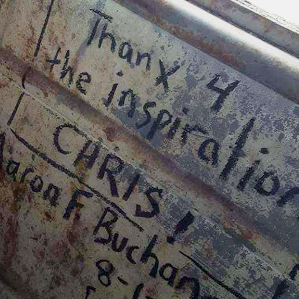 Messages from fans on the inside of the bus