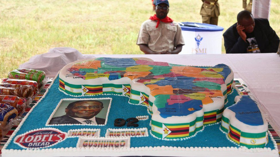 One of the huge cakes to celebrate Zimbabwean President Robert Mugabe's 92nd birthday held in Masvingo, Zimbabwe, 27 February 2016.
