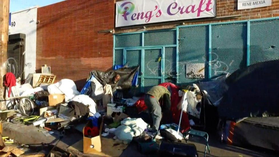 Tents set up in LA's Skid Row community