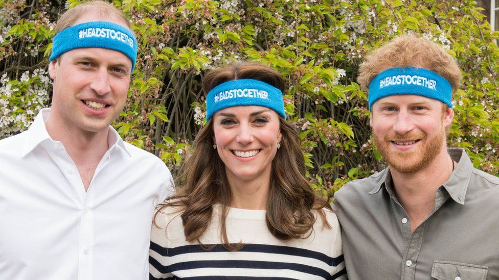 Prince William, Katherine, Duchess of Cambridge, and Prince Harry at a fundraising event for a mental health charity