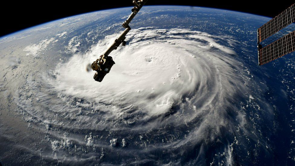 Hurricane Florence gains strength in the Atlantic Ocean as it moves west, seen from the International Space Station on September 10, 2018