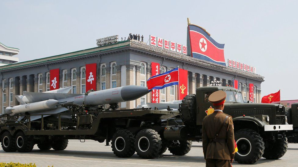 Military parade in Pyongyang on 15 April 2017