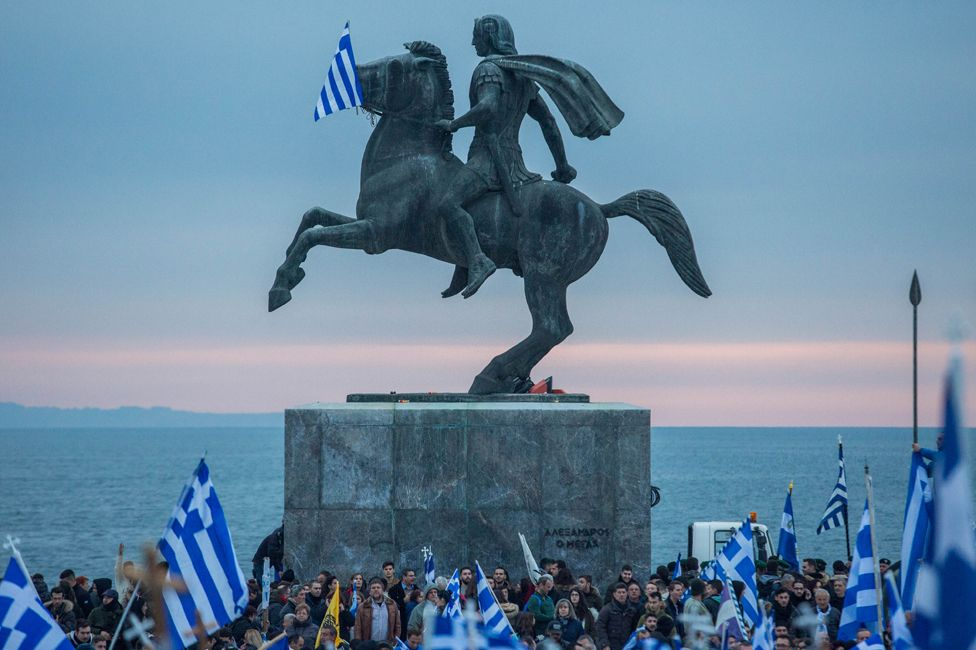 Greeks protest against discussions between Greece and Macedonia, searching for a solution to the dispute over Macedonia's name, in January 2018