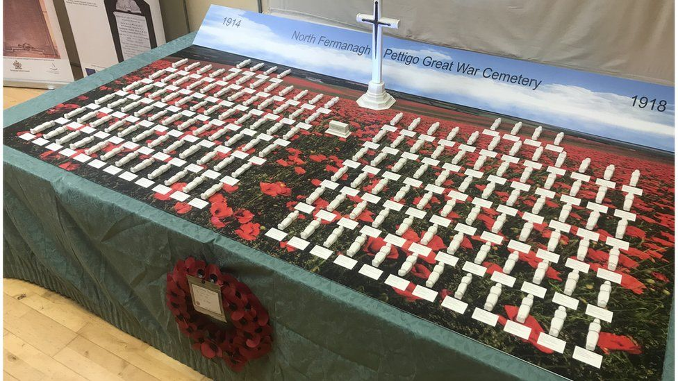 Each model wrapped in a shroud represents the 152 men from north Fermanagh and Pettigo killed in WW1