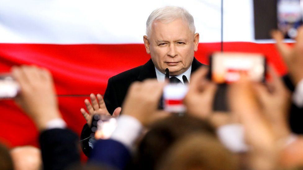 Leader of Poland's ruling Law and Justice (PiS) party, Jaroslaw Kaczynski, speaks after election exit poll results are announced in Warsaw, Poland, 13 October 2019