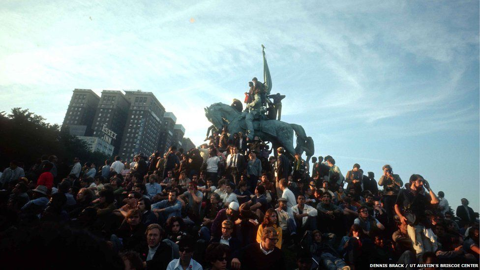 Demonstration in Chicago's Grant Park during the 1968 Democratic National Convention.