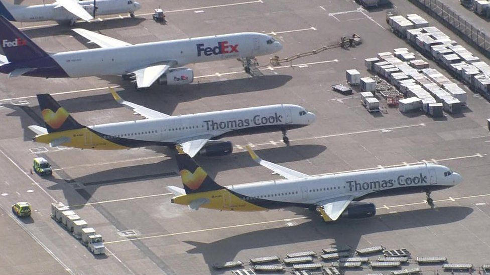 Thomas Cook planes at Manchester Airport