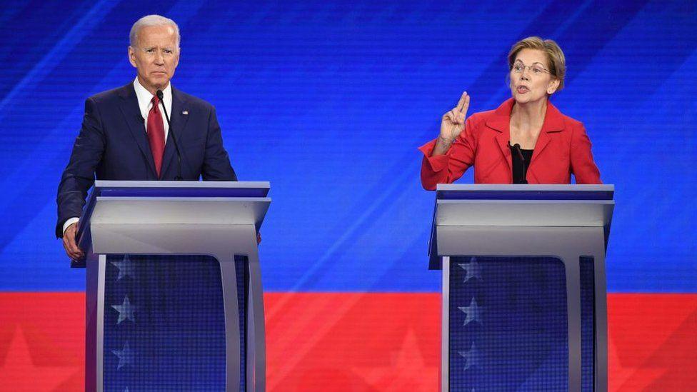 Joe Biden and Elizabeth Warren at the September Democratic debate in Houston