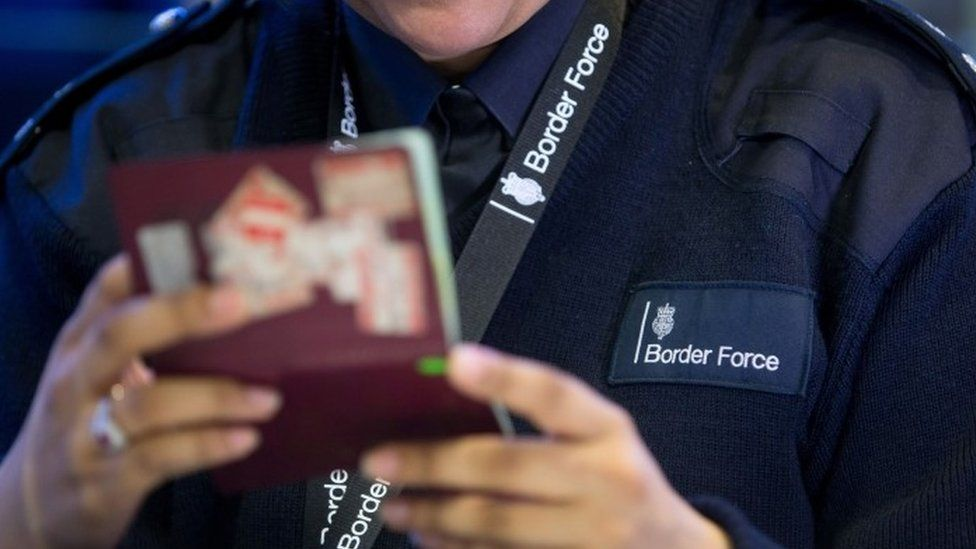Passport control at Heathrow airport (04 August 2014)